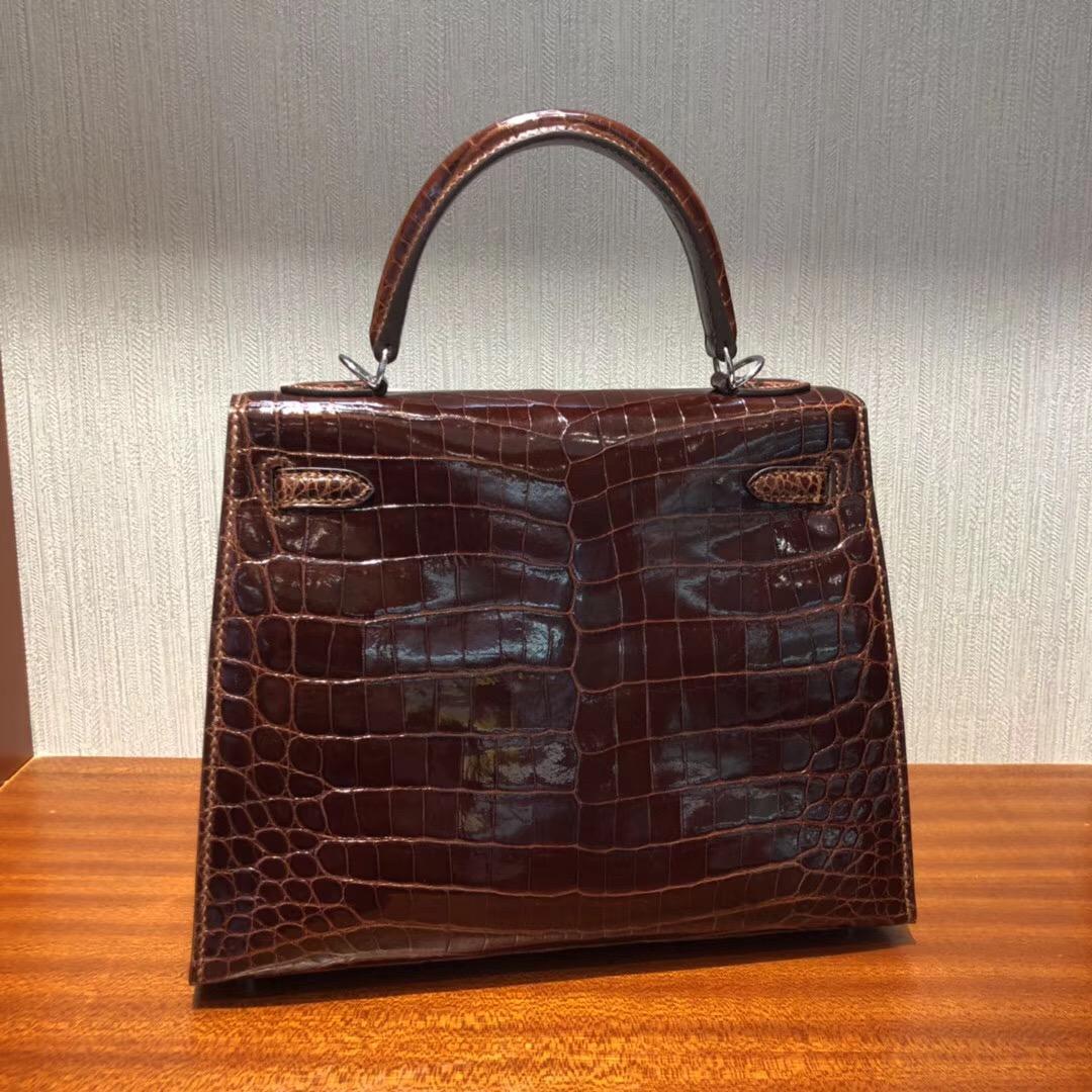 Hermes Kelly bag 25cm cc31蜜糖棕 亮面兩點 尼羅鱷魚銀扣