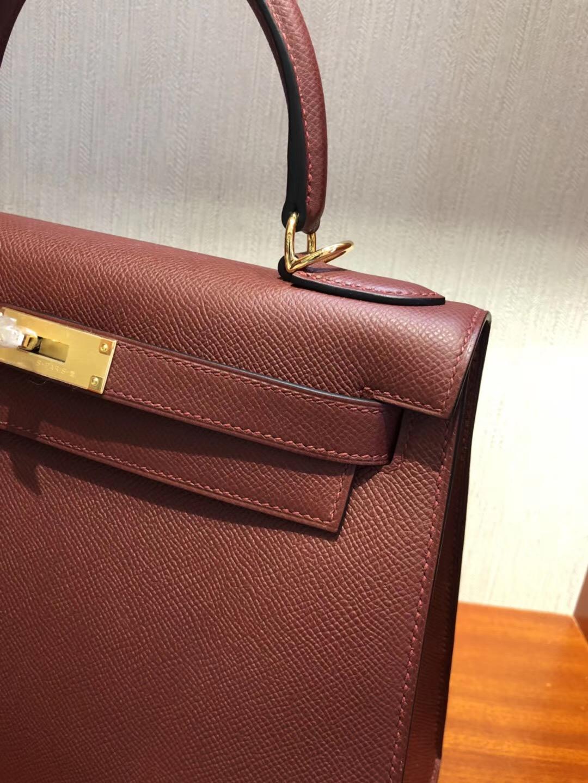 Hermes Bag Kelly 28 CK55愛馬仕紅Epsom手掌紋 全手工蠟線縫金扣