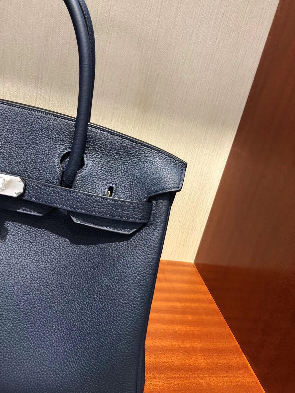 愛馬仕鉑金包包 Hermes Birkin 30cm Bag 1P鴨子藍 Togo小牛皮 金扣