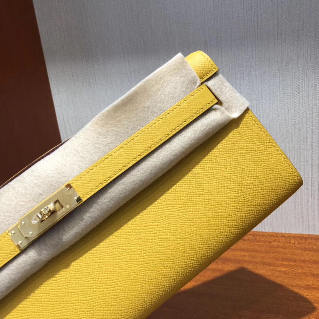 Hermes Kelly cut 31cm Epsom皮 9D琥珀黃 Ambre 金扣金屬 全手工臘線縫