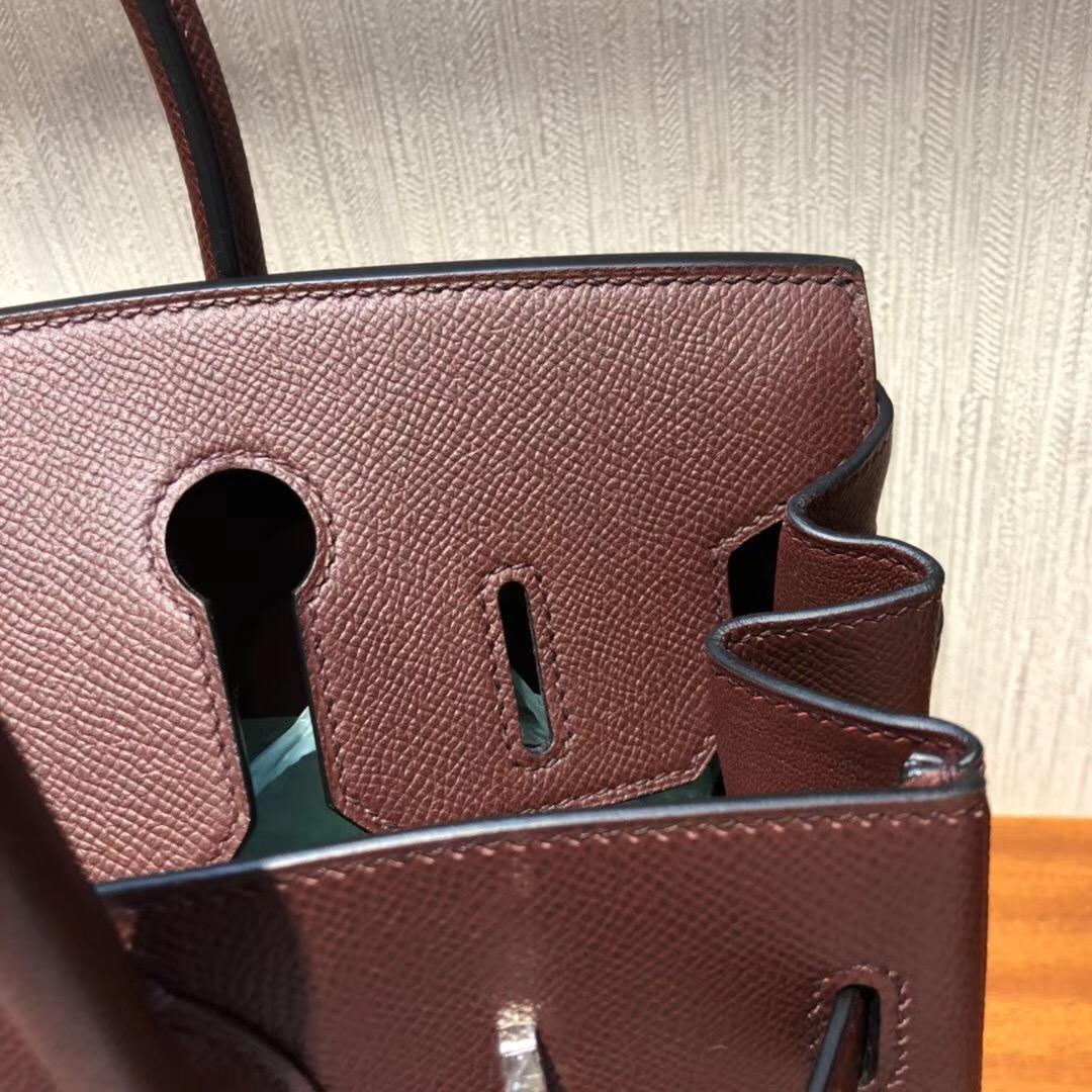愛馬仕鉑金包價格Hermes Brikin 30 Bag CK57波爾多酒紅 Bordeaux Epsom牛皮 銀扣