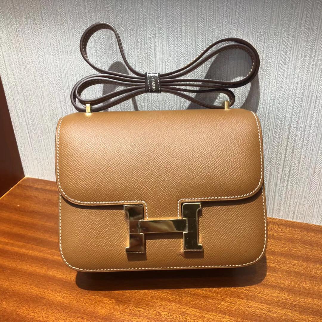 愛馬仕空姐包康斯坦斯包Hermes Constance 18cm Bag Ck37金棕色 Epsom金扣