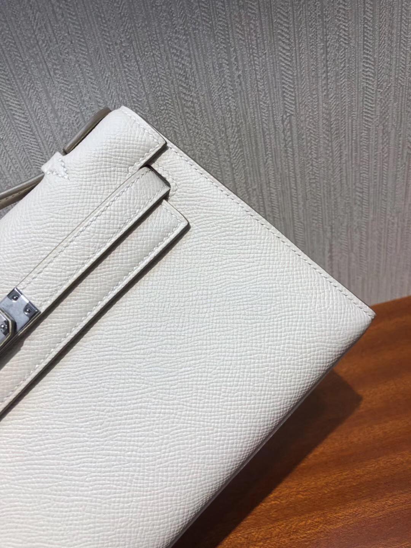 Hermes Mini Kelly 22cm pochette Epsom CK10奶昔白 Craie 全手工蠟線縫 銀扣