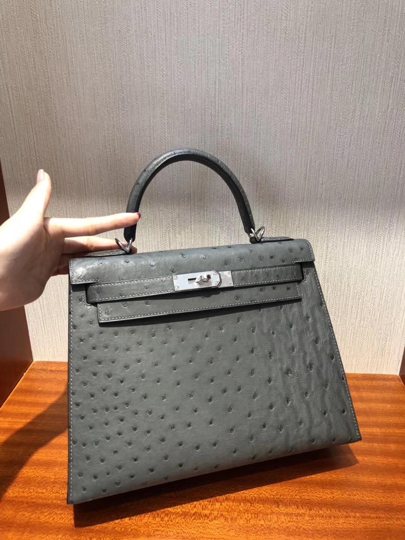 愛馬仕包包圖片價格 Hermes Kelly 28 bag CK19慕斯灰南非KK鴕鳥皮 金扣