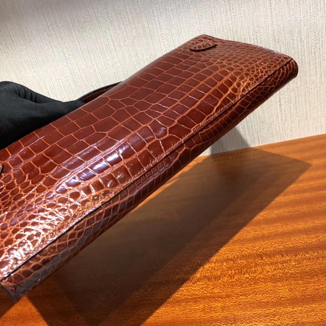 愛馬仕凱莉包價格Hermes Kelly cut 31cm亮面倒V 澳洲灣鱷 cc31蜜糖棕金扣