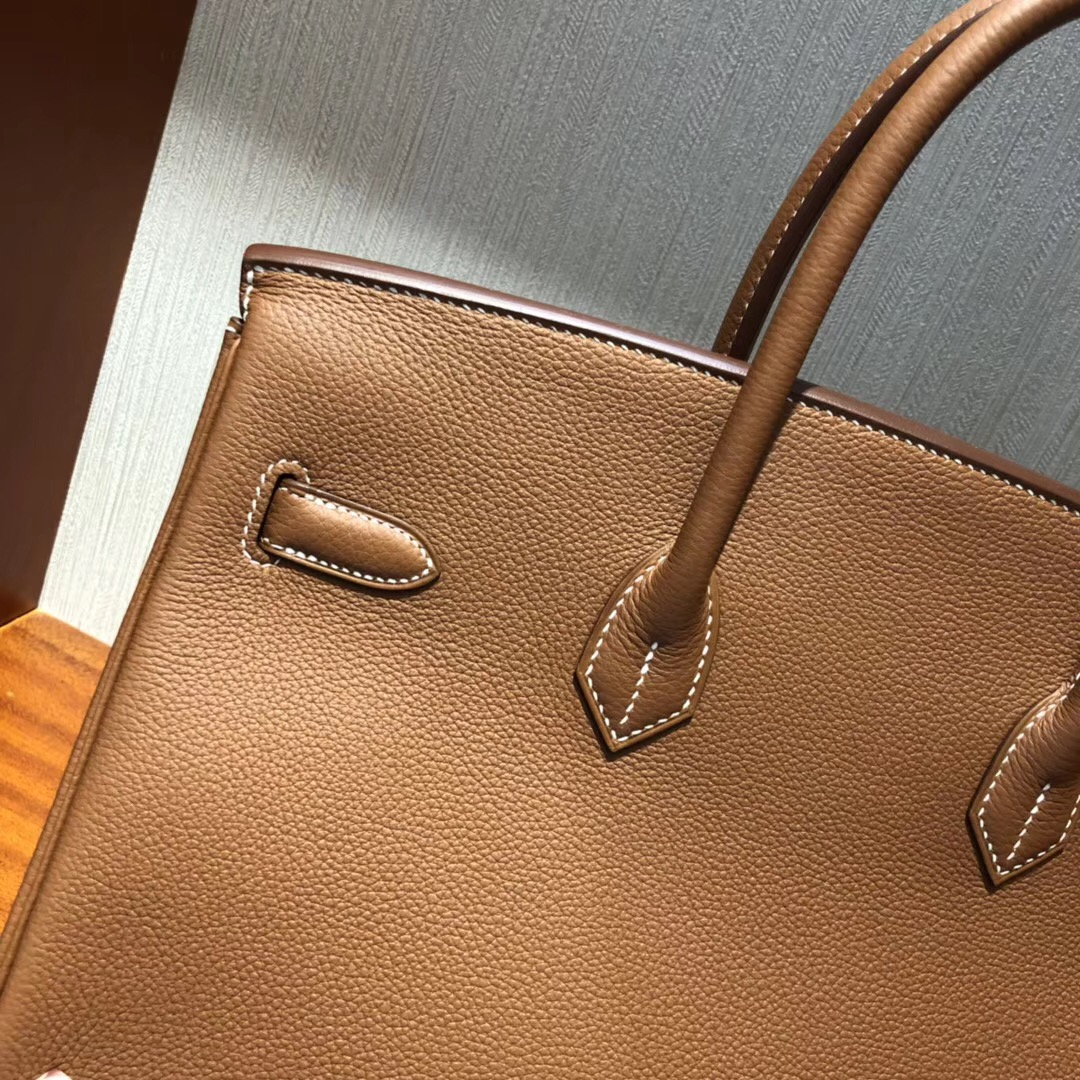 愛馬仕包包官網 Hermes Birkin 35cm Togo CK37金棕色拼CK47巧克力拼純白色椅子金扣