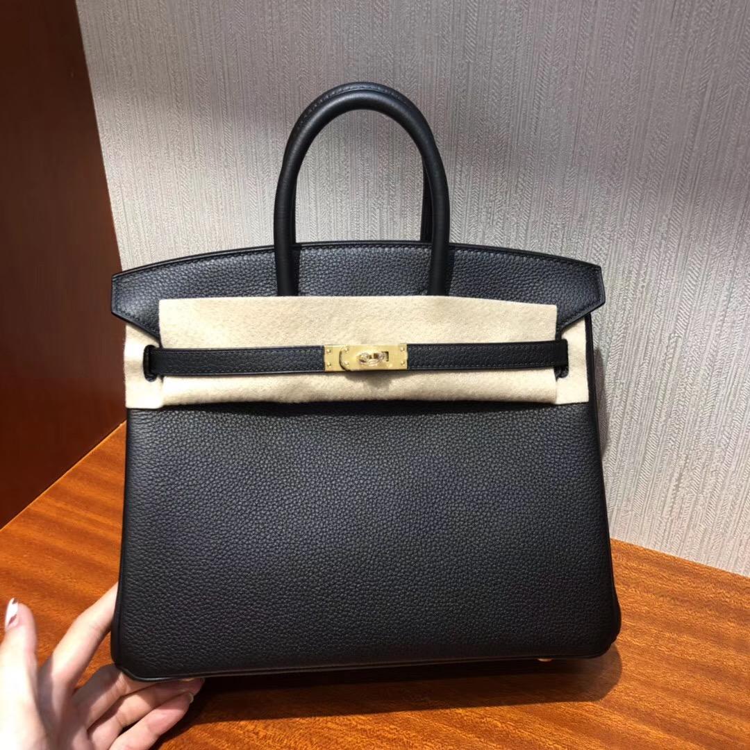 愛馬仕包包Hermes Birkin 25 Bag CK89 Black Togo GHW小牛皮 金扣