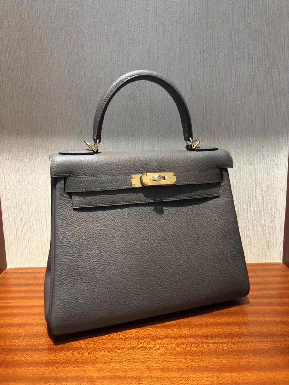 Hermes Kelly 28cm Bag togo小牛皮 禦用原廠小牛皮 8F錫器灰 全手工蠟線縫 金扣