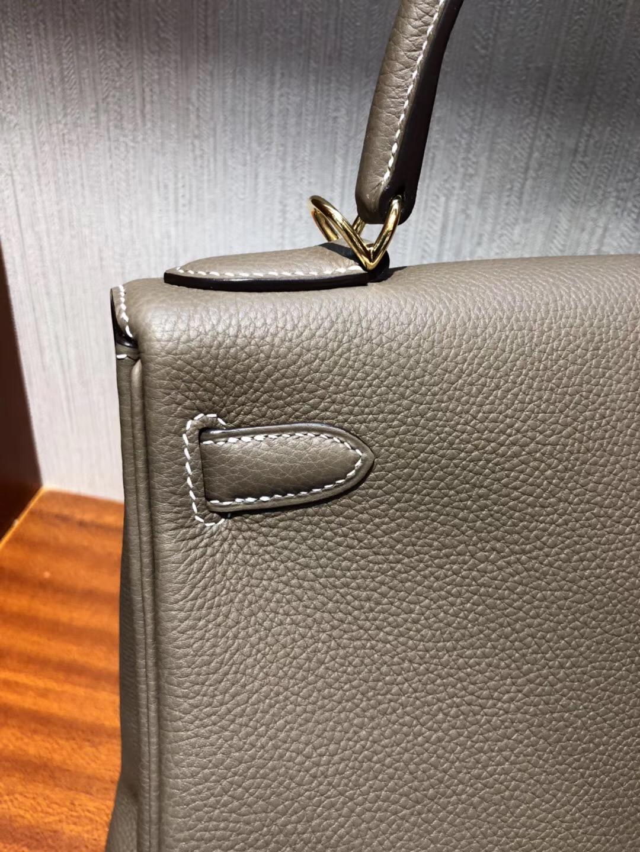 Hermes Kelly Bag 28cm togo小牛皮 原廠小牛皮 CK18大象灰 全手工蠟線縫