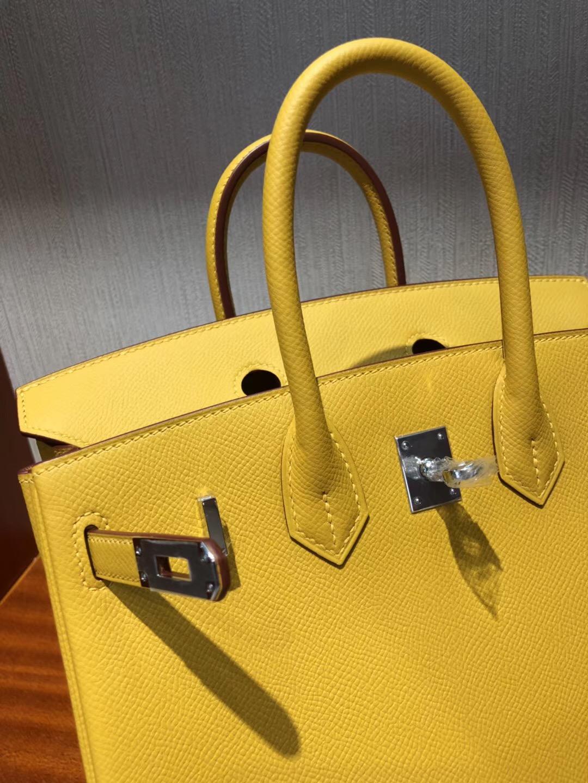 愛馬仕鉑金包包Hermes Birkin 25cm Bag epsom小牛皮 9D琥珀黃 Ambre 銀扣