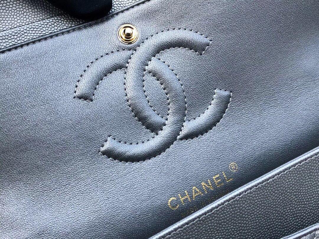 香奈兒V型鏈條經典口蓋包 Classic Flap Bag 冰川銀色小牛皮 金色金屬
