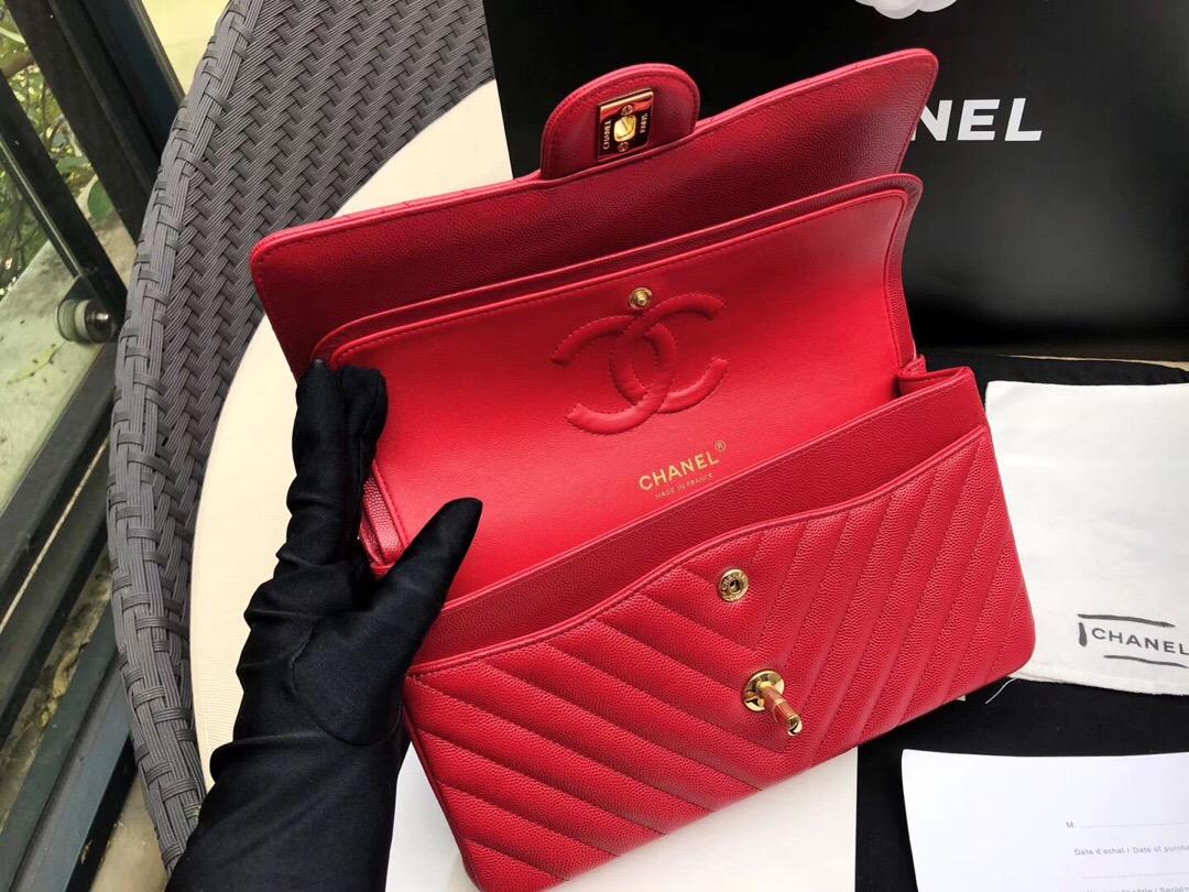 香奈兒V型口蓋包 Classic Flap Bag 红色小牛皮 金色金屬