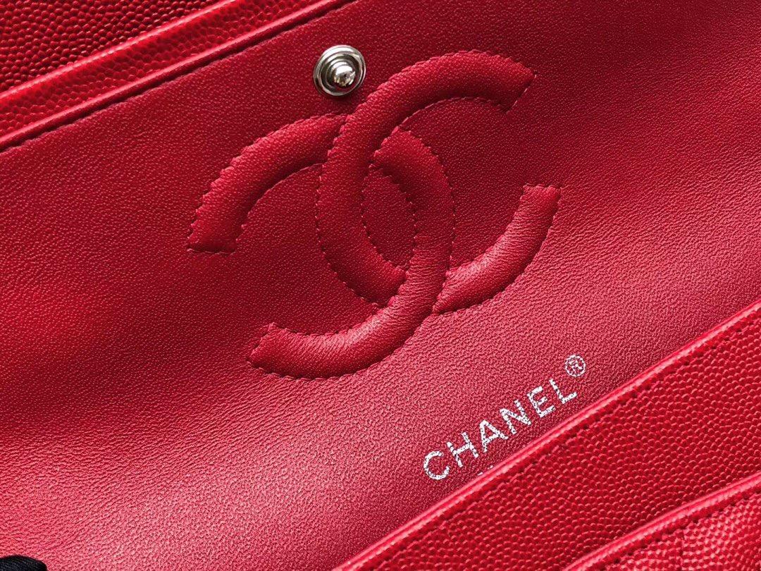 香奈兒V型口蓋包 Classic Flap Bag 红色小牛皮 银色金屬