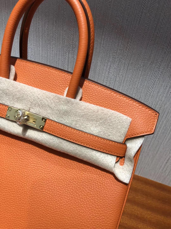 愛馬仕鉑金 Hermes Birkin 25cm Bag Togo小牛皮 CK93橙色orange 金扣