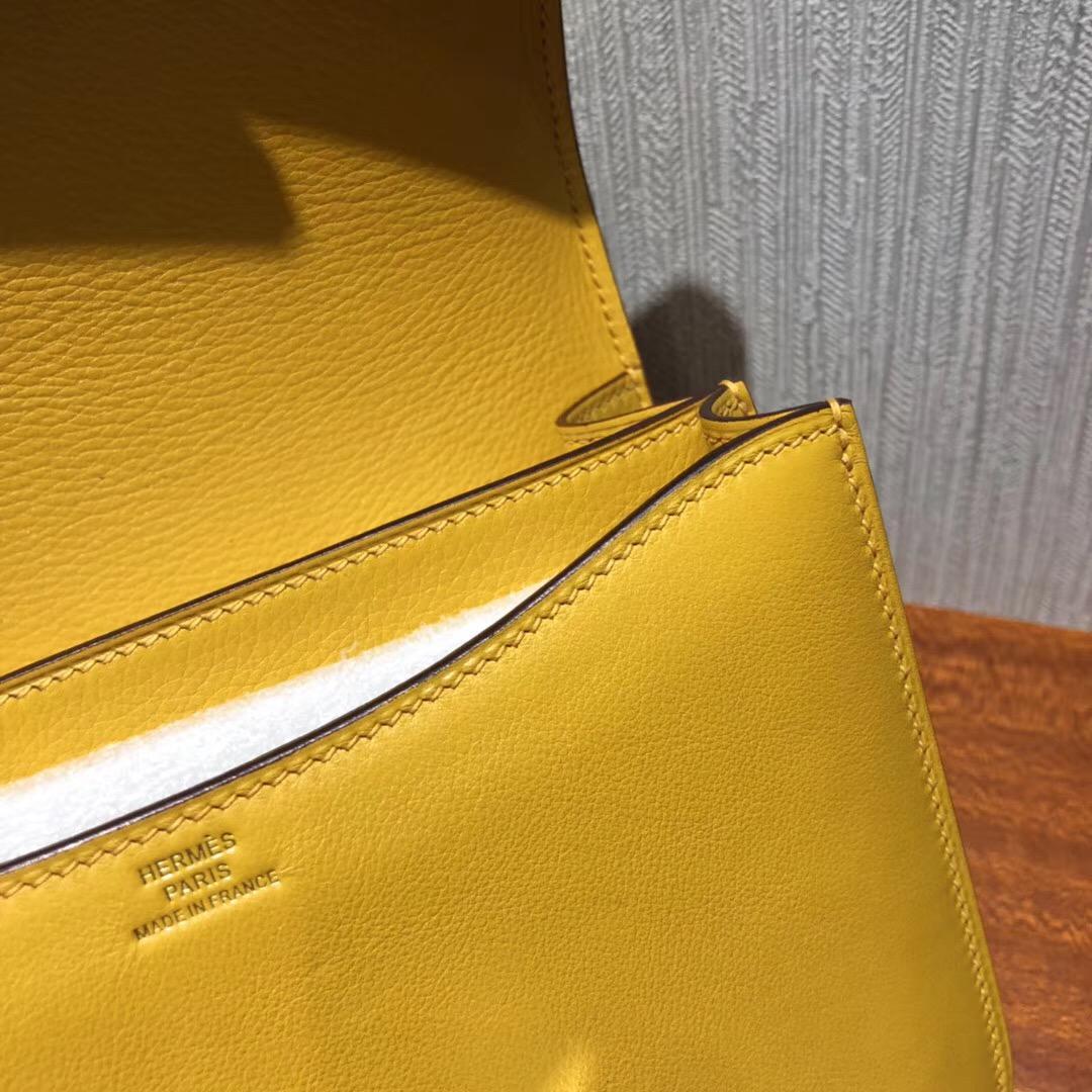 愛馬仕康康空姐包 Hermes Constance 18 Swift皮 9D琥珀黃 Amber 金扣