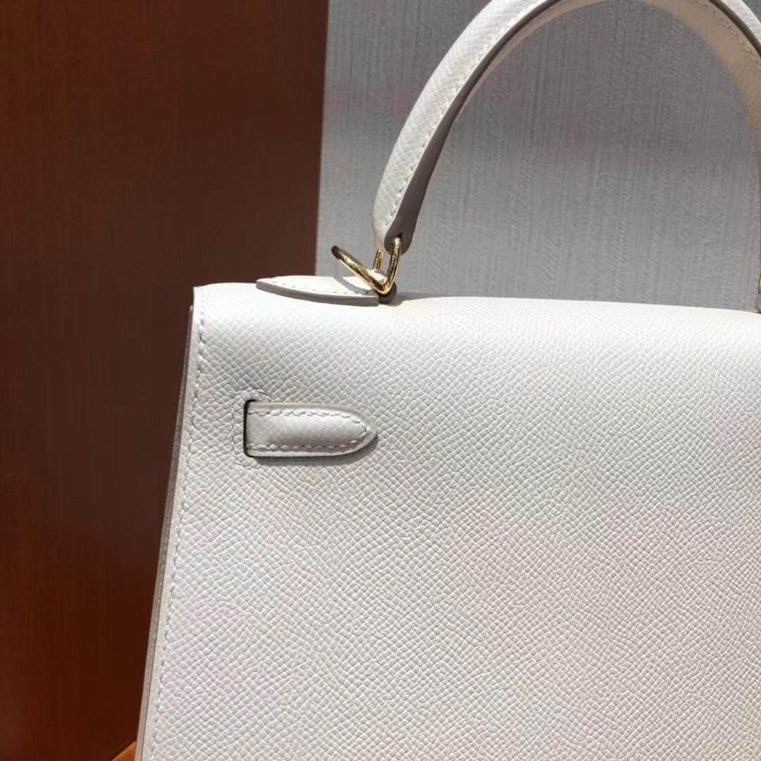 愛馬仕包包官網價格 Hermes Kelly 25 bag CK10奶昔白 Epsom皮手掌紋金扣