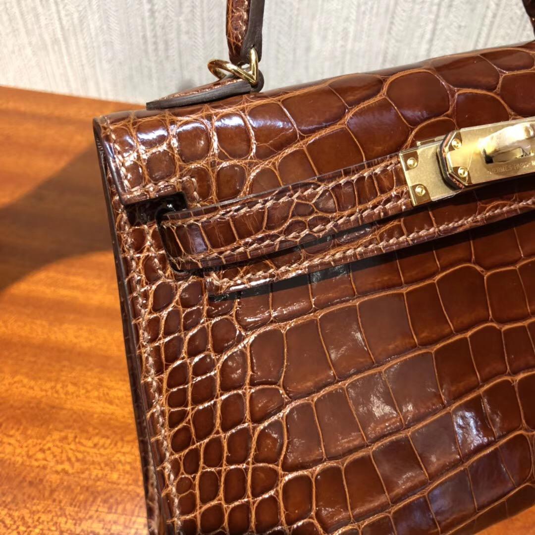 愛馬仕迷妳凱莉包 Hermes MiniKelly 二代 c31蜜糖棕亮面方塊美洲鱷魚 金扣