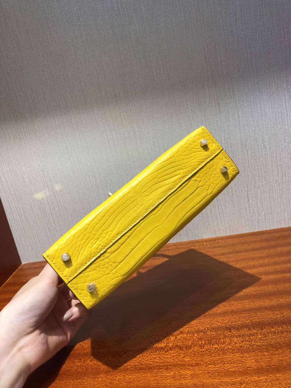 愛馬仕迷妳凱莉包 Hermes mini kelly二代 9R檸檬黃Lime 霧面方塊美洲鱷魚金扣