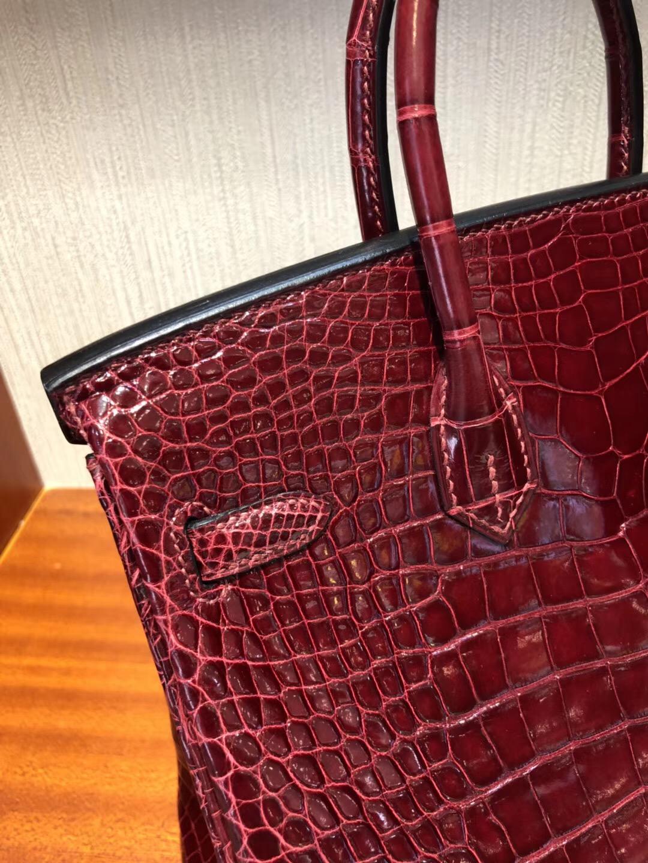 愛馬仕臺北遠東sogo復興館專賣店Hermes F5勃根第酒紅Birkin 25方塊 美洲鱷金扣