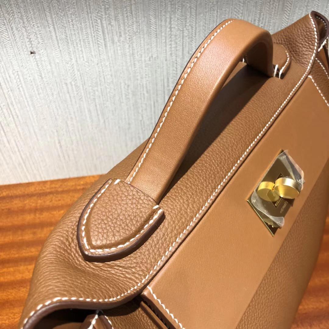 臺灣臺中大遠百專賣店Hermes Kelly 24/24 Bag CK37金棕色Taurillon Maurice皮料金扣