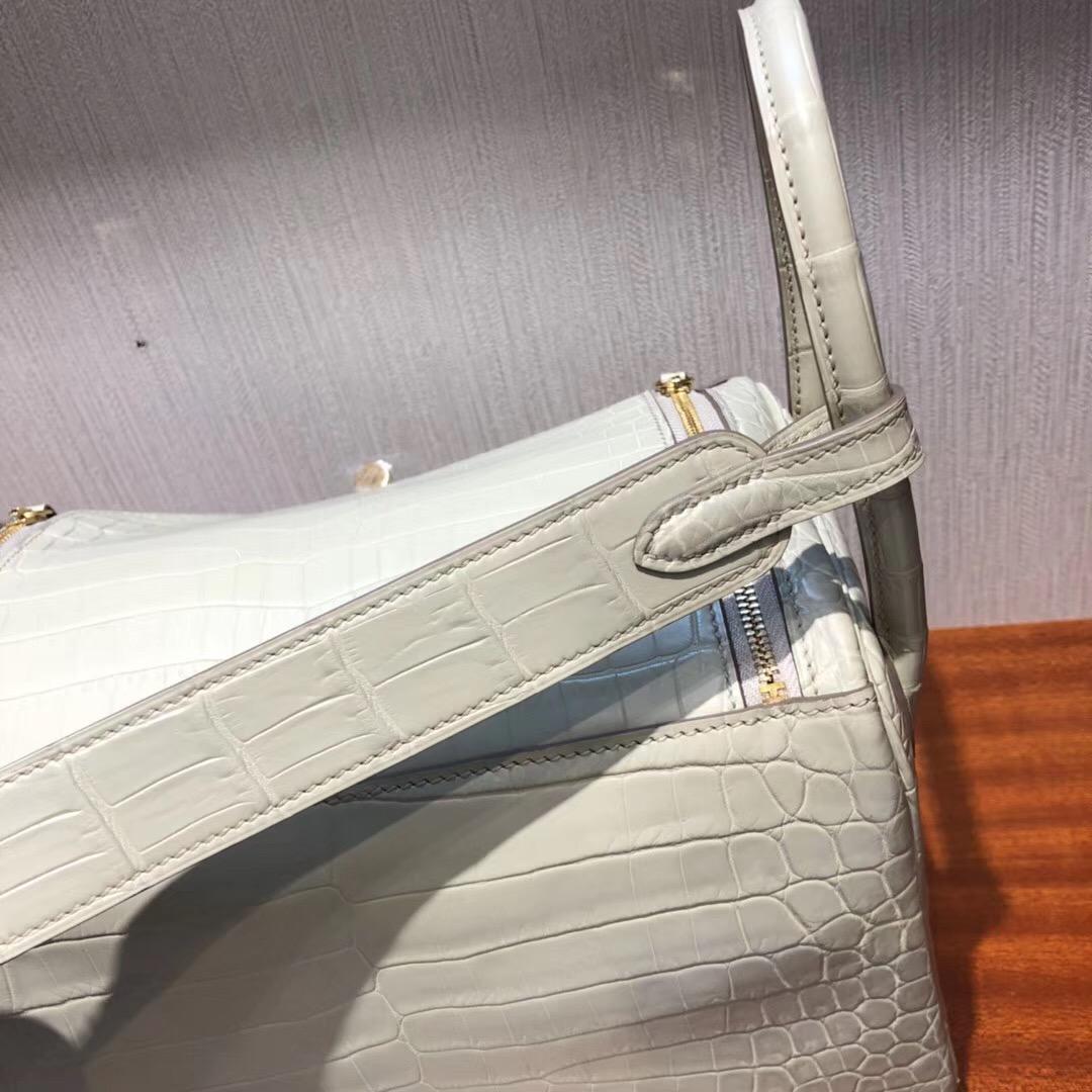 Hermes lindy 26cm 8L beton 奶油白 冰川白 霧面兩點尼羅鱷 金扣