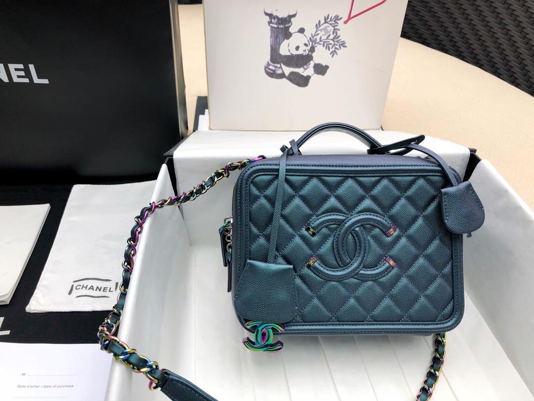 香奈兒中號相機包 藏青色 顆粒小牛皮 化妝包Vanity Case bag幻彩色金屬