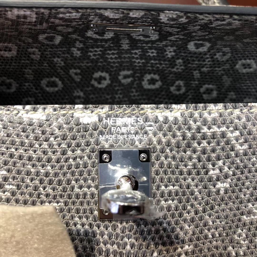 愛馬仕自然色蜥蜴皮凱莉包Hermes Kelly 25 Bag雪花紋進口蜥蜴皮 喜馬拉雅