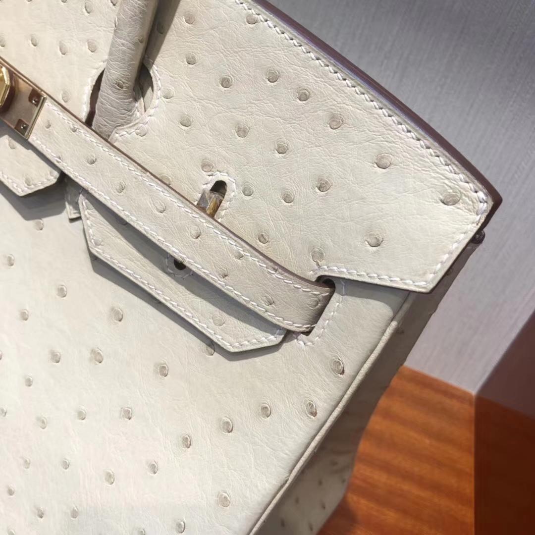 愛馬仕鴕鳥皮鉑金包 Hermes Birkin 30南非kk 鴕鳥皮3C羊毛白 金扣