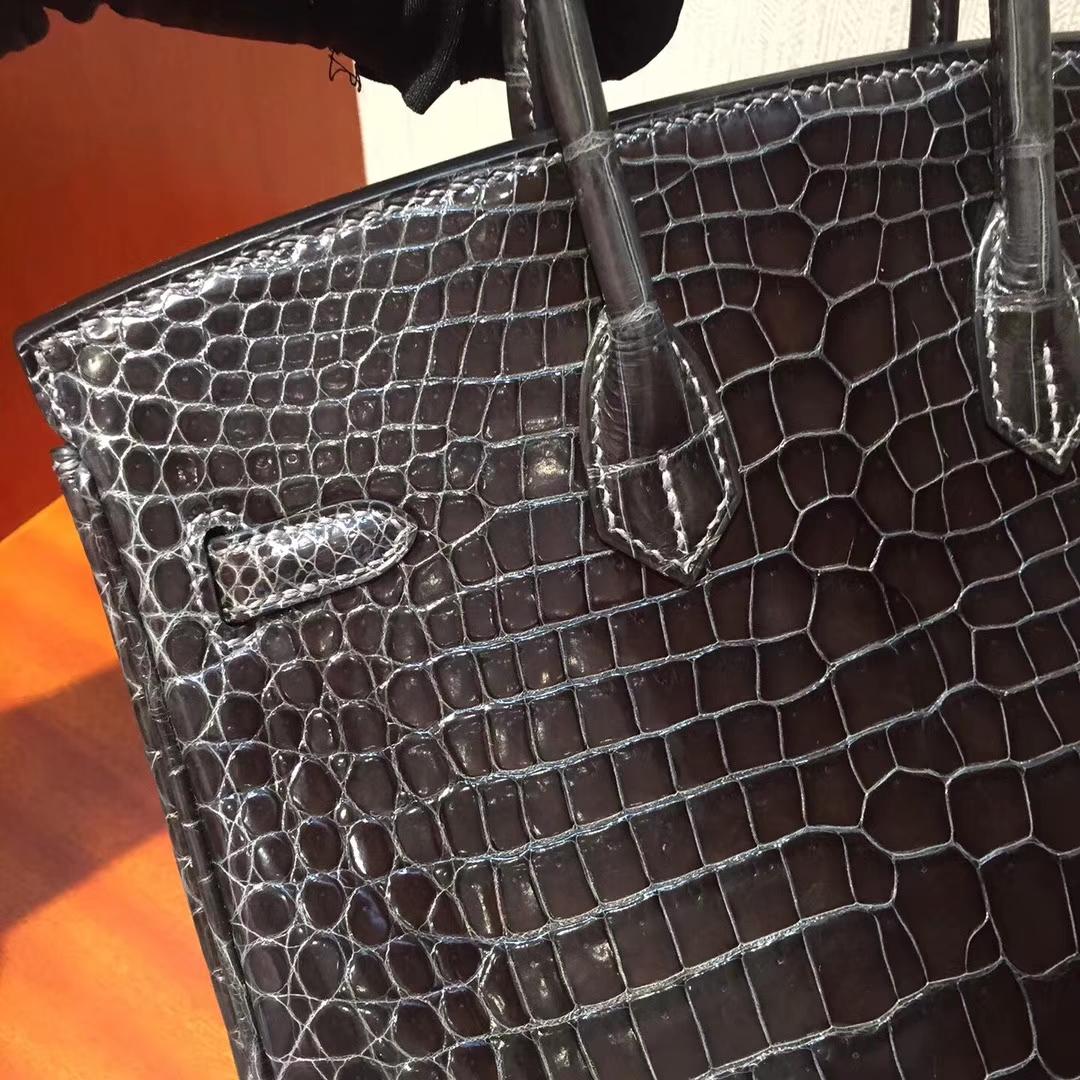 溫哥華巴拉德大街專賣店Hermes Birkin 25 Bag亮面兩點鱷魚皮 CK88石墨灰銀扣