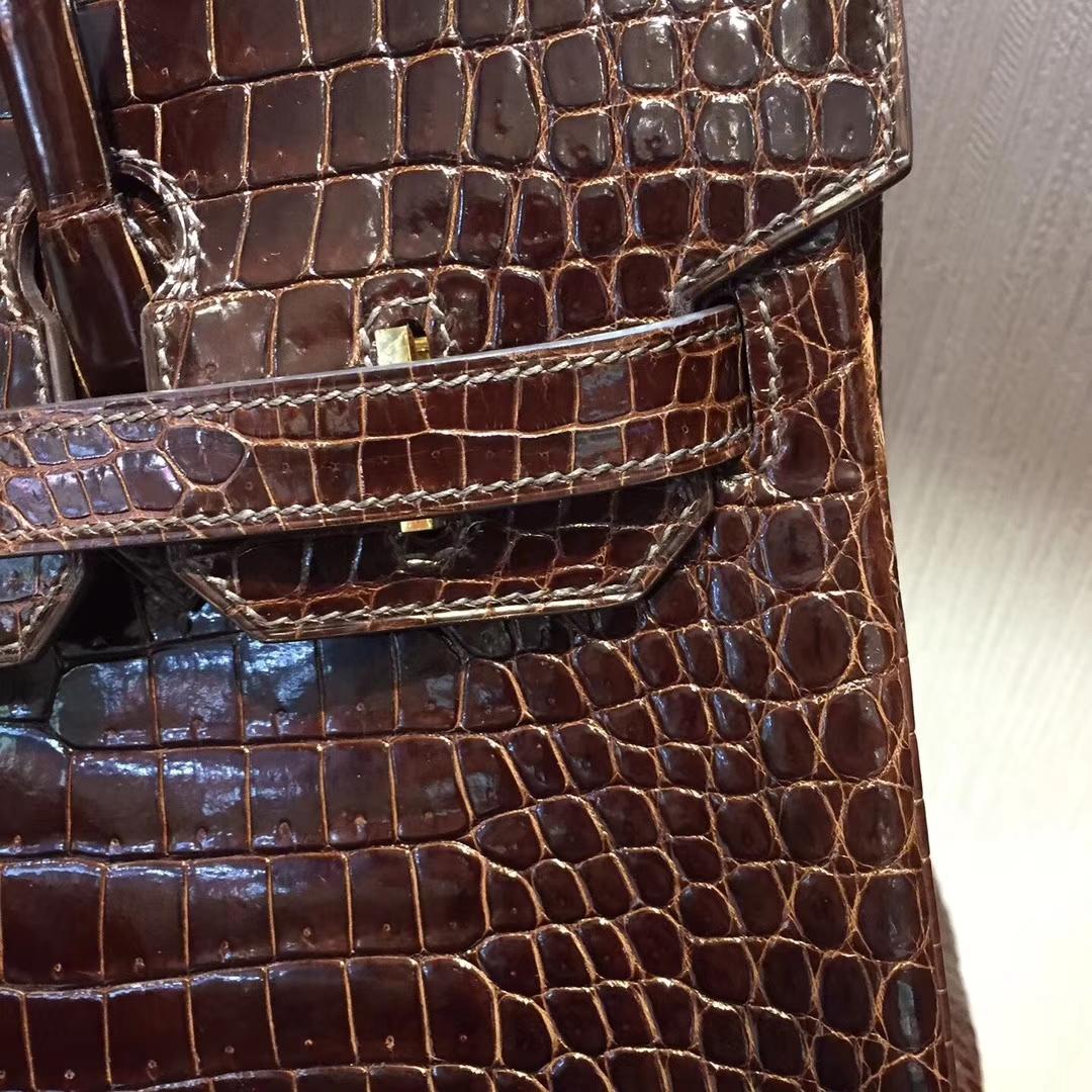愛馬仕鱷魚皮柏金包Hermes Birkin 30 Bag亮面两点鳄鱼皮 深咖啡色