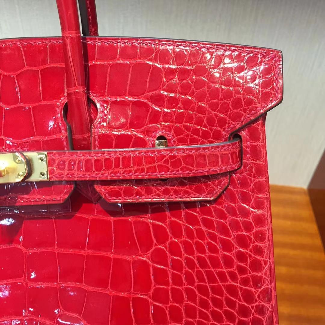 愛馬仕鉑金包鱷魚皮Hermes Birkin 25 Bag亮面兩點鱷魚皮CK95法拉利紅