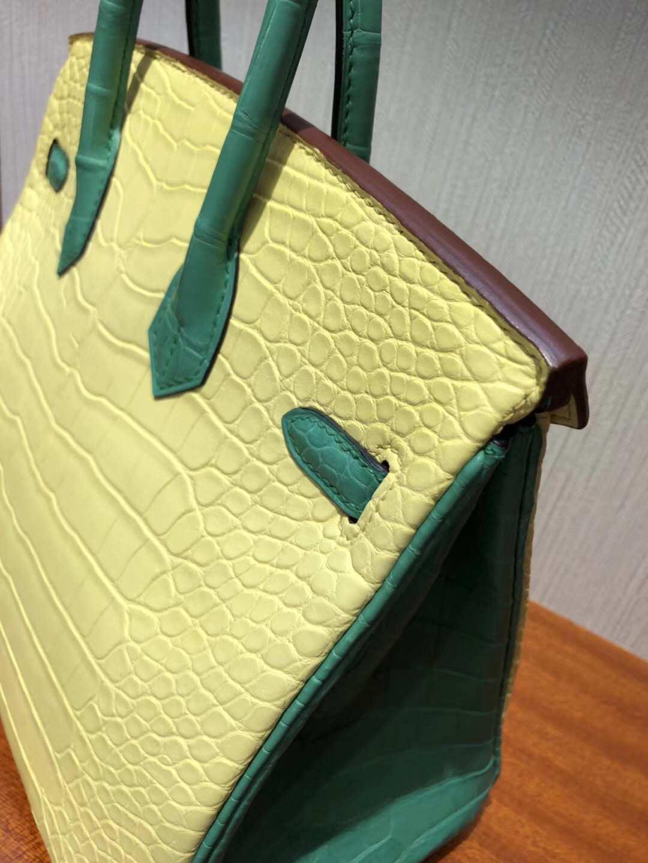 愛馬仕鱷魚皮Hermes Birkin 25 Bag霧面方塊鱷魚皮 C9鵝黃色拼色7F孔雀藍