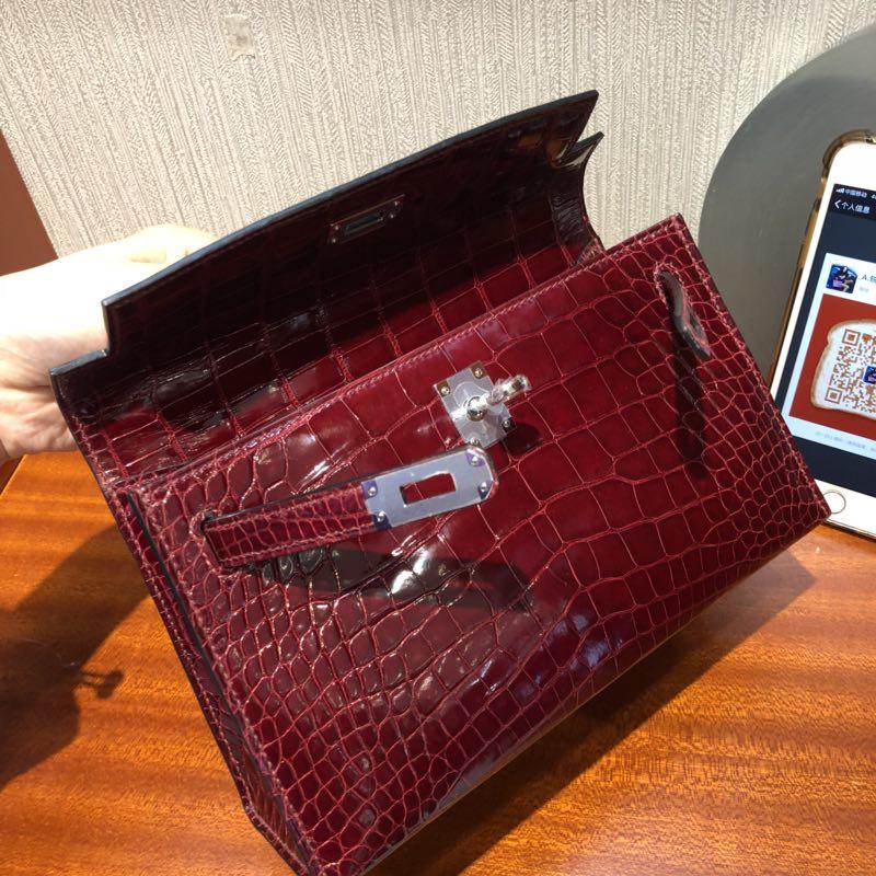 愛馬仕 壹代迷妳凱莉包 Hermes Mini Kelly壹代 22cm pochette 亮面方塊鱷魚皮革