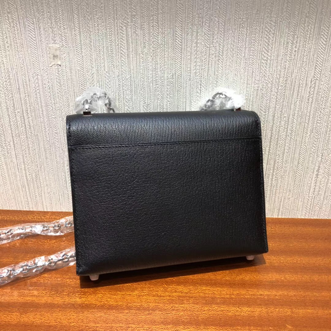 愛馬仕手槍包 Herems mini Verrou Chaine bag CK89黑色 山羊皮