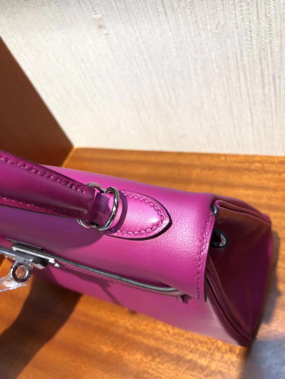 2018愛馬仕新款包包 Hermes 凱莉包Kelly 25cm L3玫瑰紫 禦用原廠Swift皮