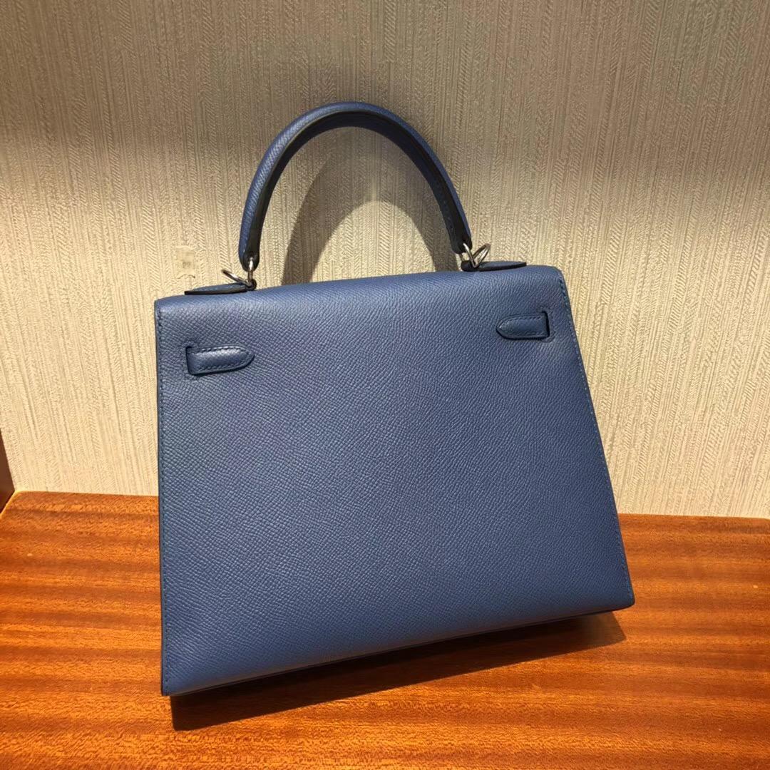愛馬仕凱莉包包什麼顏色好看 Hermes 7R霧霾藍 凱莉包Kelly 25cm Epsom手掌紋
