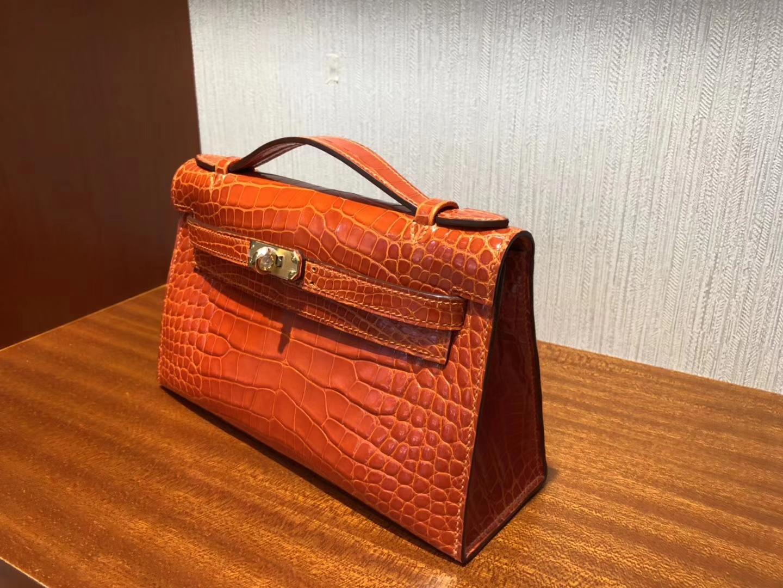 開箱愛馬仕迷你凱莉包 Hermes Minikelly Pochette 22 9J火焰橙 方塊美洲鱷魚金扣