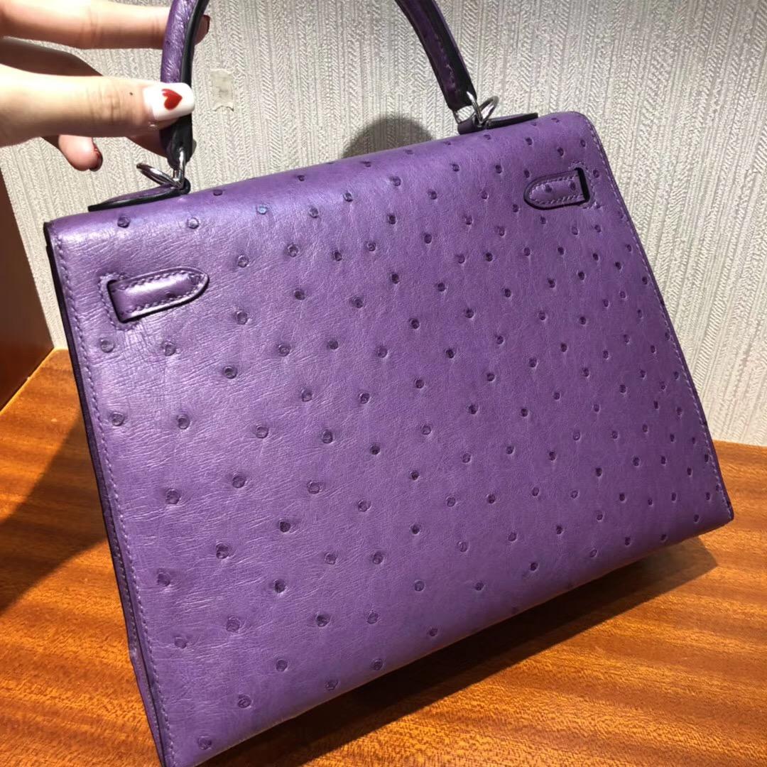 Singapore Hermes kelly價格 愛馬仕凱莉包圖片 9P海葵紫 Kelly 25cm Bag鴕鳥皮