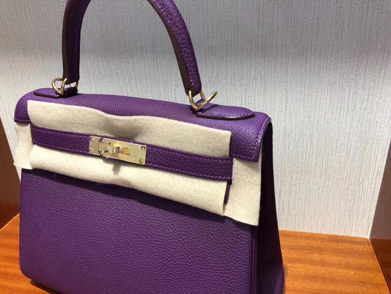 愛馬仕卡爾加裏專賣店 Hermes P9海葵紫 Kelly 28 Togo小牛皮 金扣
