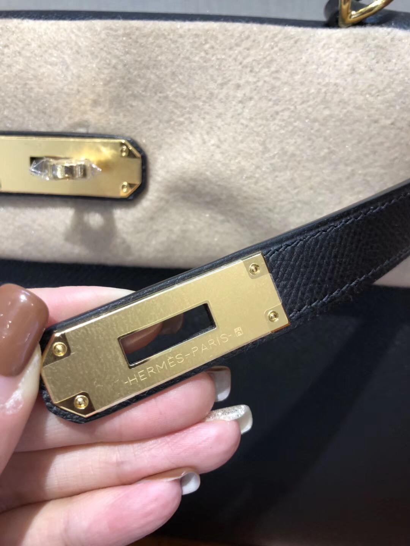 HERMES經典款鉑金和kelly Hermes Kelly 28 Epsom CK89黑色手掌紋金扣