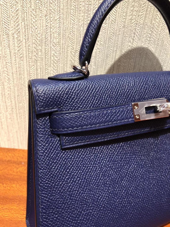 愛馬仕迷妳凱莉包2代 Hermes 7k寶石藍 miniKelly 二代銀扣