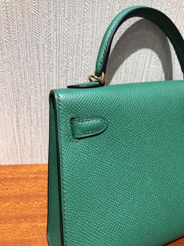 愛馬仕迷妳凱莉包2代 Hermes miniKelly 二代禦用Epsom U4絲絨綠 金扣