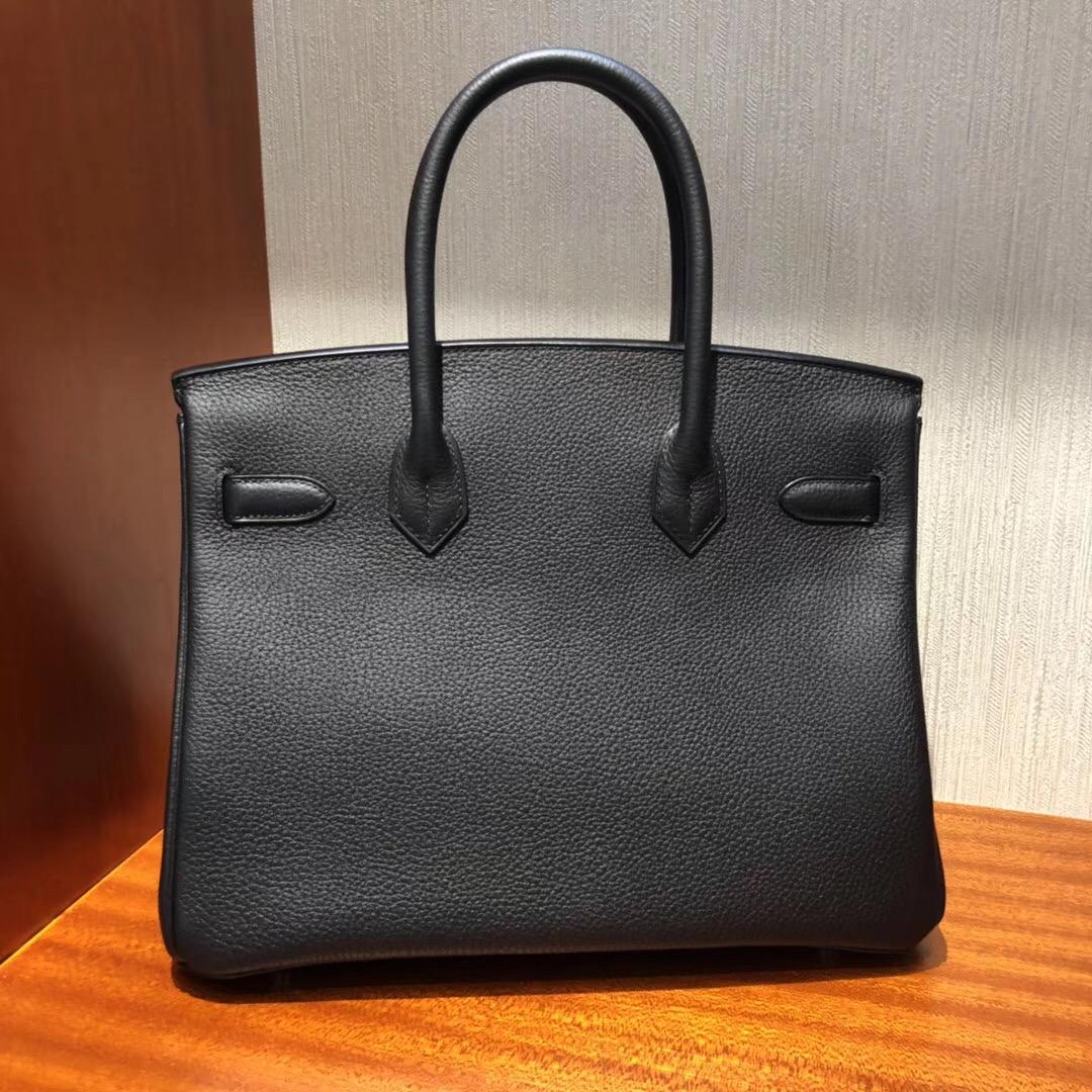 愛馬仕新加坡官網包包價格 鉑金包Hermes Birkin 30cm CK89黑色 Togo小牛皮