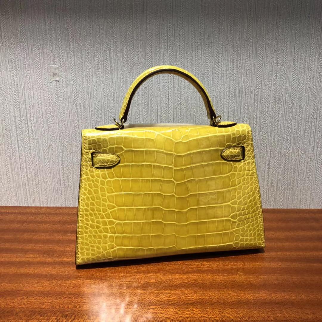 愛馬仕迷妳凱莉2代 Hermes miniKelly 二代 亮面鱷魚皮革 9D琥珀黃金扣