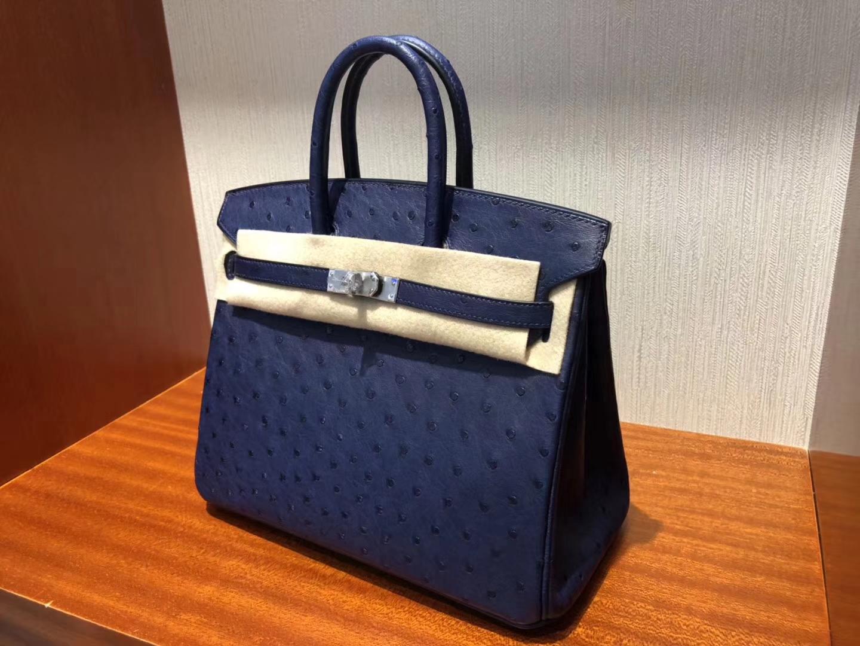Hermes Birkin Bag 25cm鴕鳥皮Ostrich 7K深海藍 73寶石藍銀扣