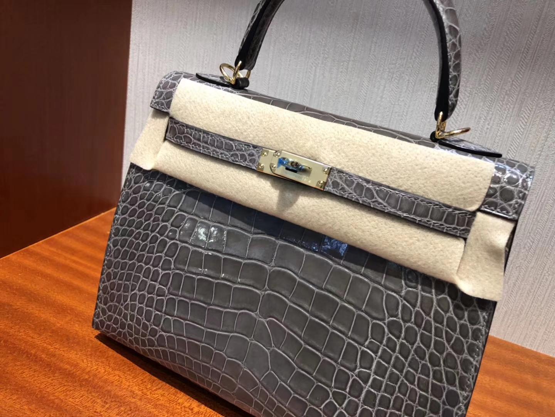 爱马仕外縫凯莉包 Hermes Kelly 25cm CK81斑鳩灰 亮面方塊 美洲鱷魚