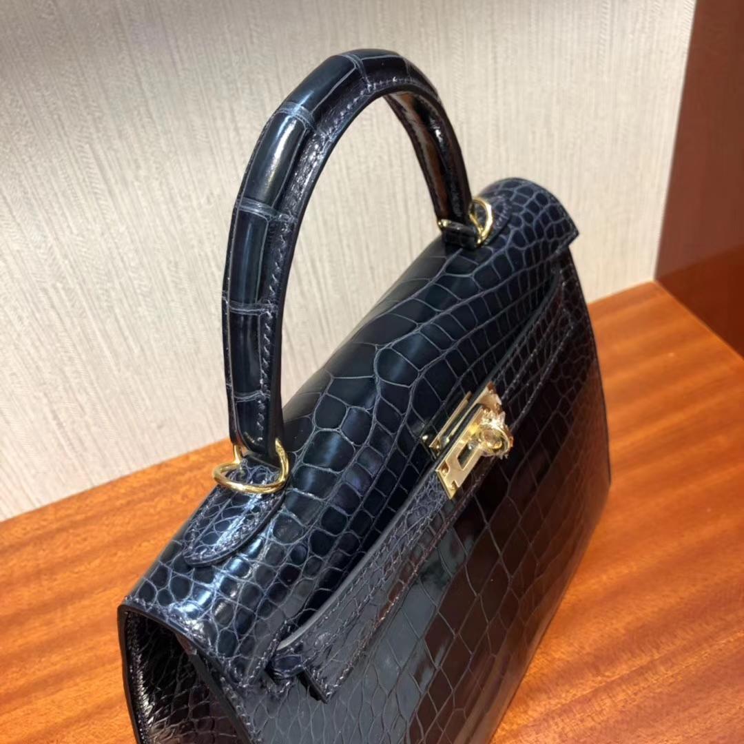 愛馬仕外縫凱莉包 Hermes Kelly 25cm 7K寶石藍 亮面鱷魚皮 金扣