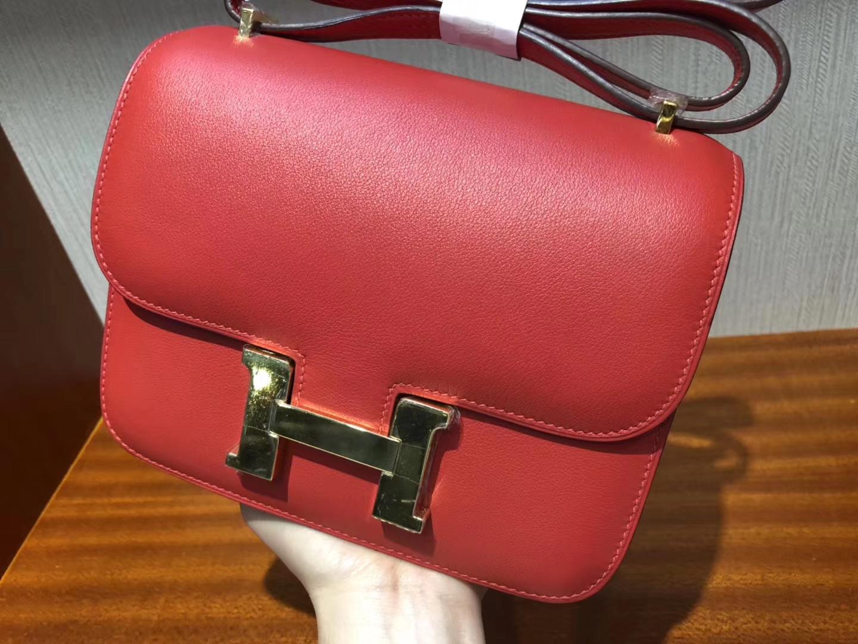 愛馬仕 康斯坦斯包價格 Hermes S5番茄紅 Constance 18cm Swift牛皮金扣