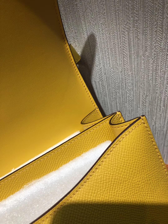愛馬仕康斯坦斯空姐包 Hermes Constance 24 Epsom 9D琥珀黃Amber 金扣