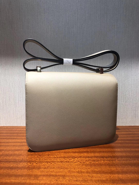 愛馬仕空姐包 Hermes Constance 24 Epsom S2風衣灰內拼杏色 玫瑰金扣